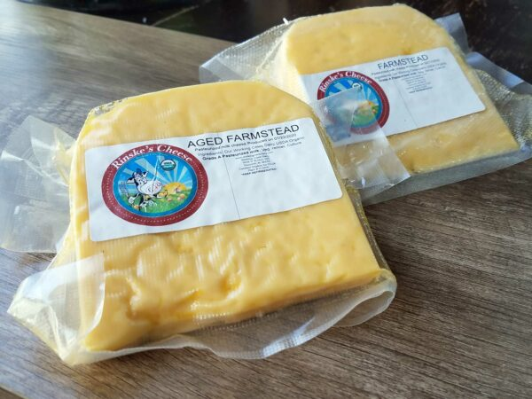 One pound wedges of Aged Farmstead Cheese in packaging